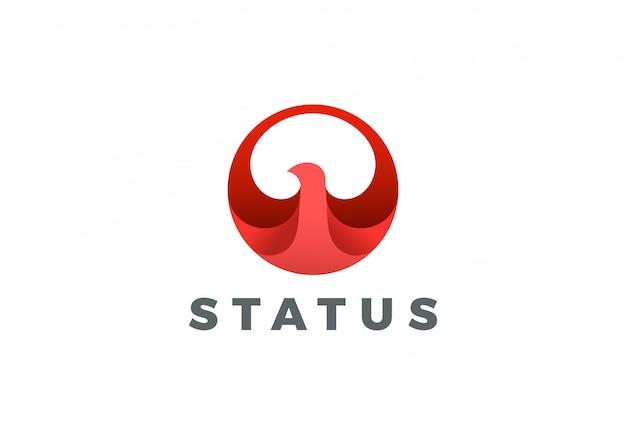 Ptak streszczenie koło logo ikona.