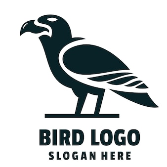 Ptak sylwetka kreskówka logo wektor
