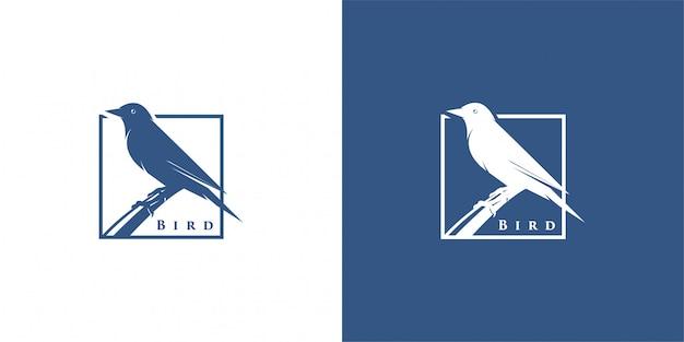 Ptak sylwetka logo projekt inspiracji wektor