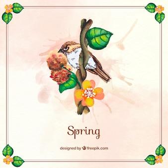 Ptak tła na gałęzi z kwiatami