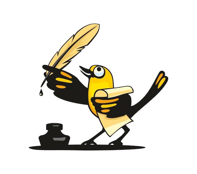 Ptak trzyma pióro w skrzydle. płaskie ilustracji wektorowych kolor. na białym tle