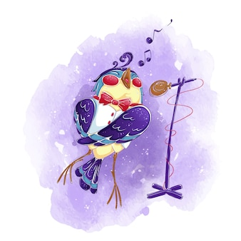 Ptak w białej kamizelce i muszce śpiewa do mikrofonu.