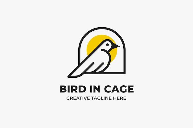 Ptak w klatce monoline business logo
