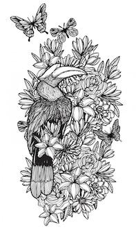 Ptak w lesie kwiat ręka, rysunek i szkic