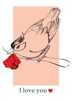 Ptak z kwiatem siedzi na gałęzi karta na walentynki