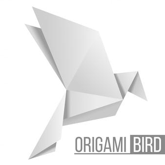 Ptak z papieru origami. latający rysunek gołębia na białym tle. kształt wielokąta. japońska sztuka składania papieru. ilustracja.