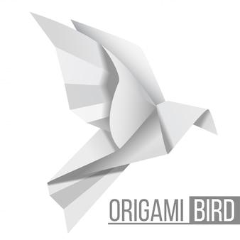 Ptak z papieru origami. latający rysunek gołębia na białym tle. kształt wielokąta. japońska sztuka składania papieru.