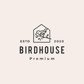 Ptaka modnisia rocznika loga ikony domowa ilustracja