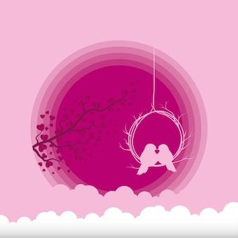 Ptaki Całują Się Z Projektowania Gałęzi I Chmur Miłości, Pasji I Romantycznego Tematu Ilustracja Wektorowa Premium Wektorów