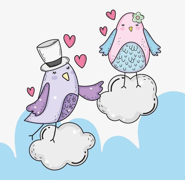 Ptaki dobierają się w chmurach z sercami valentines dzień