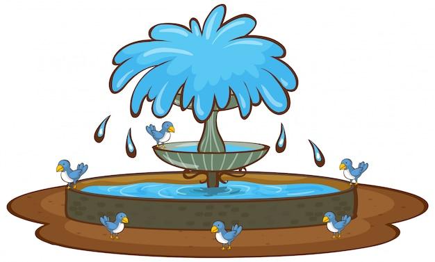 Ptaki i fontanna na białym tle