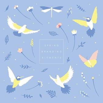 Ptaki i kwiatowy element marki
