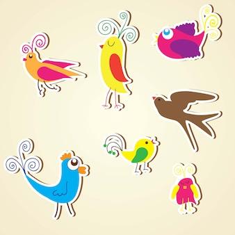 Ptaki ikony kolorowe zbiory zestaw ilustracji wektorowych