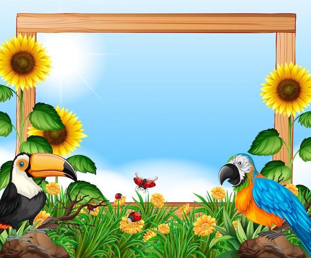 Ptaki na charakter drewnianej ramie