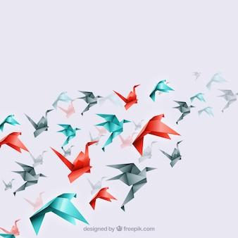 Ptaki origami w tle