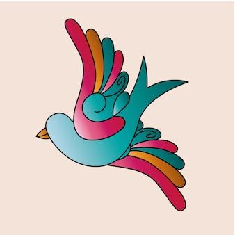 Ptaki tatuaż ikona na białym tle projekt
