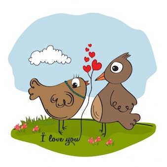 Ptaki w karty valentines miłość