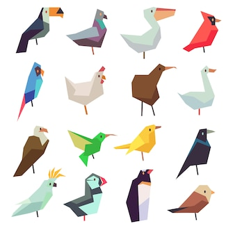 Ptaki w kolekcji w stylu płaskiej. kurczak, papuga, wróbel i gołąb ilustracja