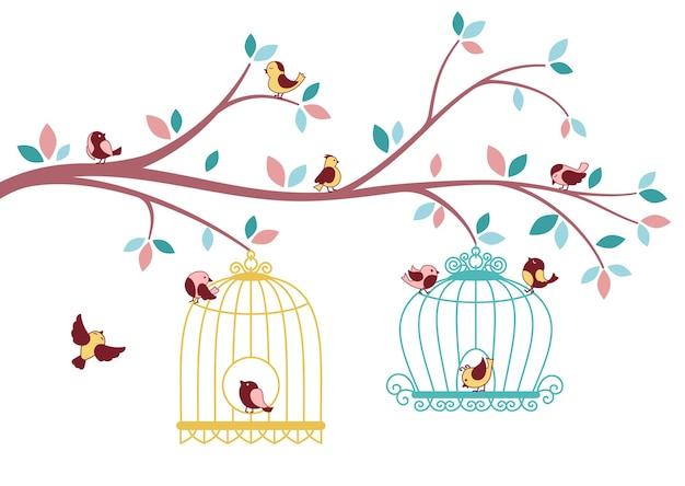 Ptaki wylatujące z klatki, karta gałęzi drzewa. latający ptak i sylwetka klatki.