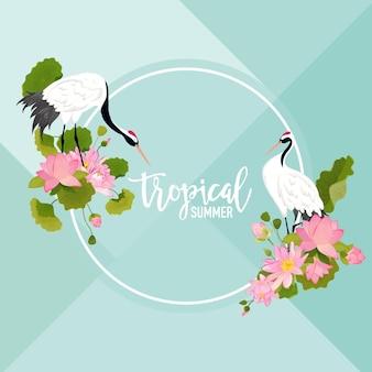 Ptaki żurawia, kwiaty lotosu i liście lato transparent, tropikalny tło graficzne, egzotyczne zaproszenie kwiatowy, ulotki lub karty. nowoczesna strona frontowa w vector