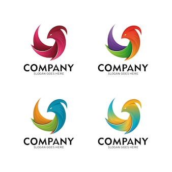 Ptasi symbol logo, ilustracyjna ptasia projekt sztuka, feniks, orzeł, gołąbka - wektor