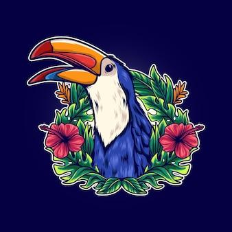 Ptasi tukan w tropikalnej ilustracji kwiatowej