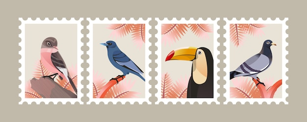 Ptasia ilustracja dla plakata i znaczka pocztowego