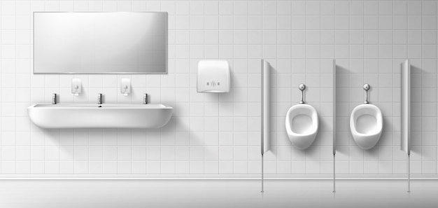Publiczna toaleta męska z pisuarem, umywalką i lustrem