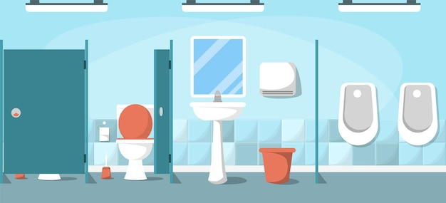 Publiczna toaleta. wnętrze czystego pustego pomieszczenia sanitarnego.