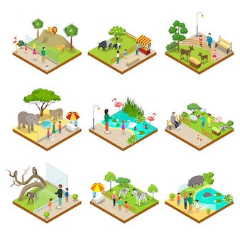 Publiczne zoo izometryczny 3d zestaw ilustracji