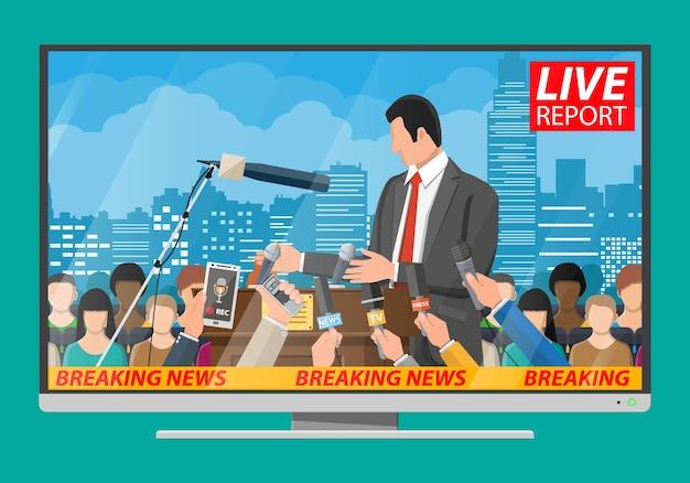 Publiczny mówca. trybuna, trybuna i ręce dziennikarzy z mikrofonami i cyfrowymi dyktafonami. koncepcja konferencji prasowej, aktualności, media, dziennikarstwo. ilustracja wektorowa w stylu płaski