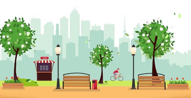 Publiczny park w mieście z uliczną kawiarnią i budynkami