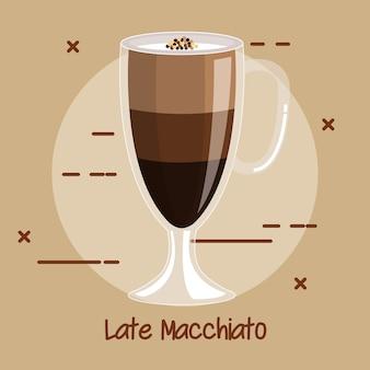 Puchar latte macchiato element menu przepis na kawę do kawiarni lub restauracji