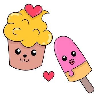 Puchar lodów i trzymać szczęśliwą twarz, aby się zakochać, sztuka ilustracji wektorowych. doodle ikona obrazu kawaii.
