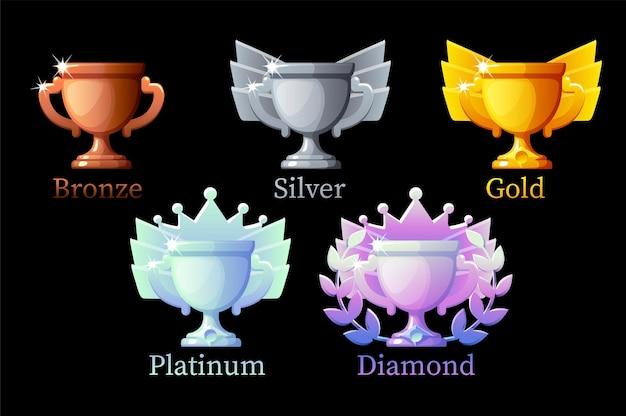 Puchar Nagród Game Rank, Złoty, Srebrny, Platynowy, Brązowy, Diamentowy, 6 Kroków Animacji Premium Wektorów