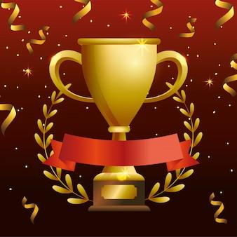 Puchar nagrody z liści gałęzi i wstążką