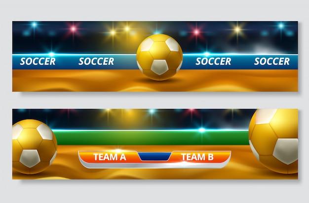 Puchar piłki nożnej, zestaw banner mistrzostw piłki nożnej