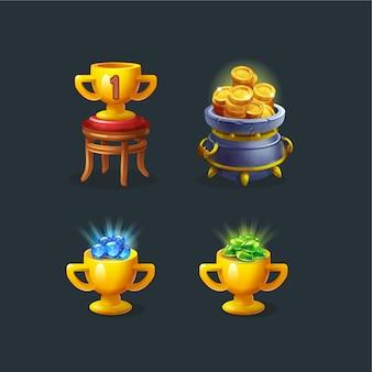 Puchar trofeum i zestaw złotych monet