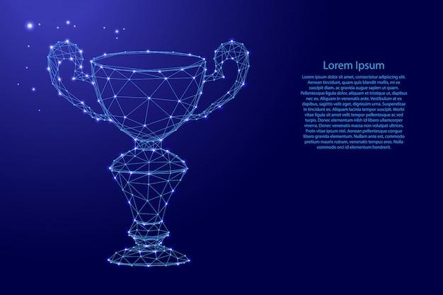 Puchar zwycięzcy, nagroda online od futurystycznych wielokątnych niebieskich linii i świecących gwiazd