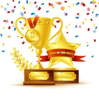 Puchar zwycięzcy z koncepcją złoty medal