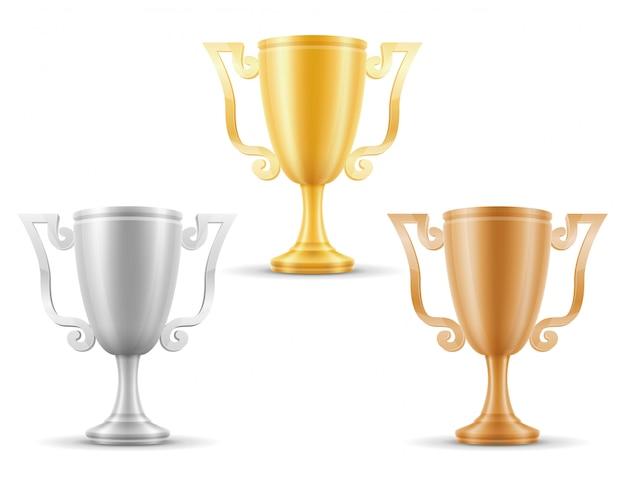 Puchar zwycięzcy złota srebra brązu zapasu wektoru ilustracja