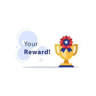 Puchar zwycięzcy, złoty puchar, nagroda za doskonałość, najlepsze wyniki, trofeum za pierwsze miejsce, najlepszy wynik w konkursie, płaska ilustracja