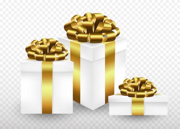 Pudełka gft owinięte złotą wstążką i kokardą na górze. realistyczny styl ilustracji.