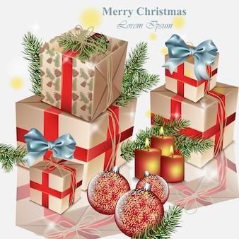 Pudełka i bombki świąteczne zabawki realistyczne ilustracje