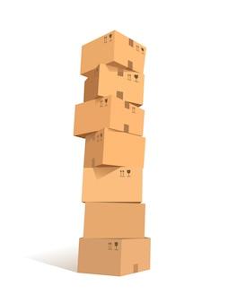 Pudełka kartonowe ułożone w stos