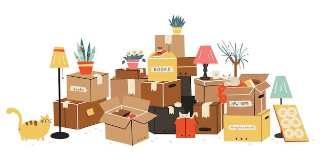 Pudełka kartonowe z różnymi artykułami gospodarstwa domowego. ilustracja w stylu płaskiej.