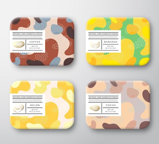Pudełka Na Kosmetyki Do Kąpieli Zestaw Opakowane Pojemniki Opakowanie Z Ręcznie Rysowanymi Ziarnami Kawy Kakaowej Premium Wektorów