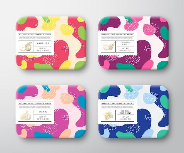Pudełka Na Kosmetyki Do Kąpieli Zestaw Opakowane Pojemniki Opakowanie Premium Wektorów