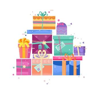 Pudełka na prezenty. pudełko z jasnym wystrojem i wstążkami