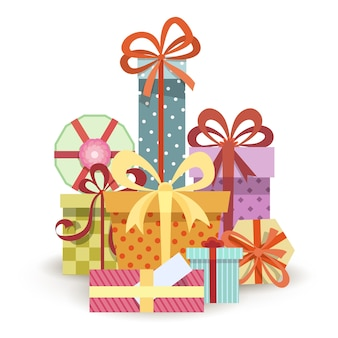 Pudełka na prezenty stos. duży stos różnych prezentów.
